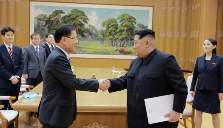 Šiaurės Korėjos lyderis ir Seulo pasiuntiniai aptarė priemones įtampai mažinti